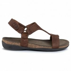 New KEEN Kaci Ana Leather T-Strap Sandals Brown